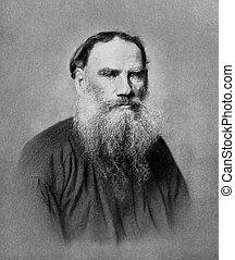 Leo Tolstoy 1828-1910 on antique print from 1899 Russian...