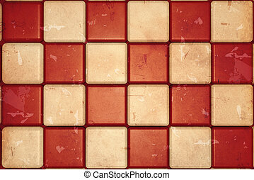 retro checked background with white and red squares