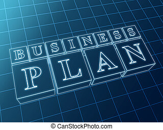 business plan in blue boxes