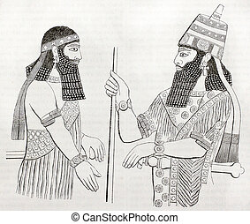 Assyrian drawings - Assyrian artworks found in Nineveh. By...