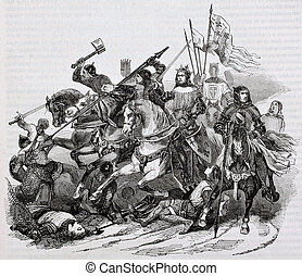 Battle of Bouvines old illustration. By unidentified author,...
