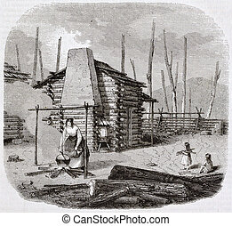 Pioneers hut - North-American pioneers hut, old illustration...