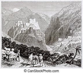 Nur mountains old view (formerly Amanus) with ruined castle...