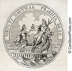 Medal French navy - Antique medal celebrating French navy in...