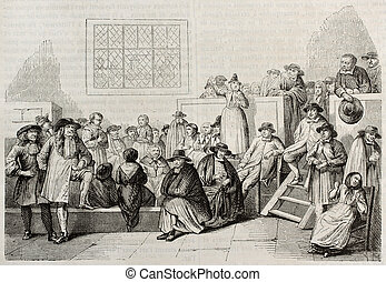 Quakers meeting in 18th century. After old engraving by...