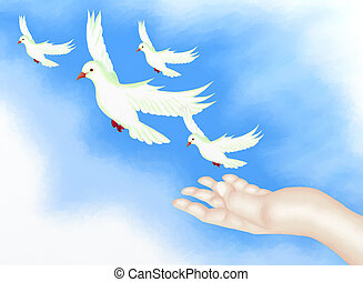 Open Hand Releasing Freedom Bird in - Hand Drawing, Open...