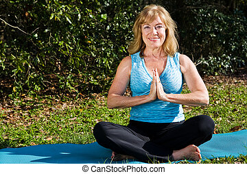 Mature Beauty Lotus Pose