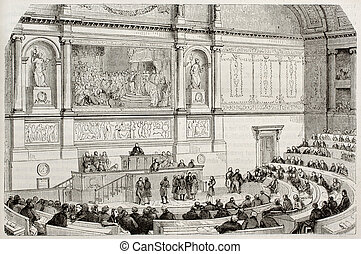 Parliament session - French parliament session old...