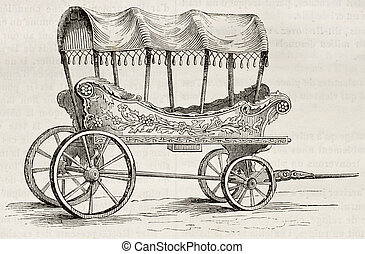 Turkish wagon - Araba old illustration old Turkish wagon for...