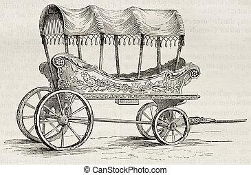 Turkish wagon - Araba old illustration (old Turkish wagon...