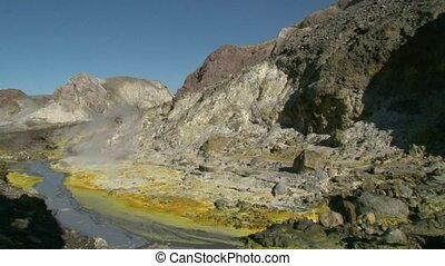 Sulphur deposits - White Island. - White Island, New...