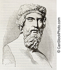 Plato, the famous, classical Greek philosopher, bust kept in...