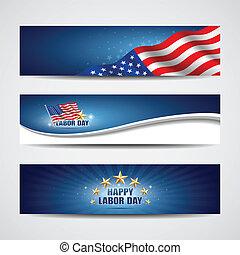 trabalho, Dia, EUA, bandeira, desenho