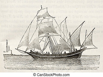 Sacoleve (tipe of vessel) old illustration. By unidentified...