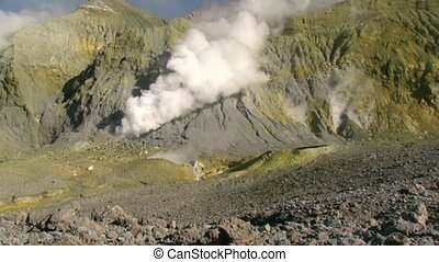 Thermal steam on White Island 2 - White Island, New Zealand,...