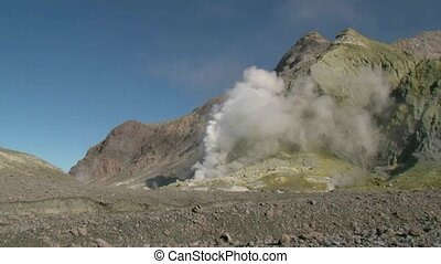 Thermal steam on White Island - White Island, New Zealand,...
