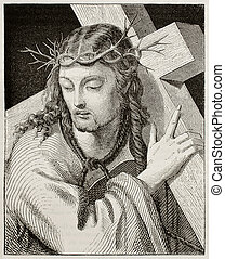 Jesus Christ - Jesus carrying the cross. Created by Del...