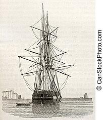 Brig bis - Brig old illustration, stern view. By...