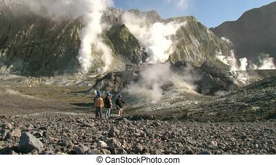 Tourists on White Island 2. - White Island, New Zealand,....