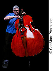 Musician - A musician playing a double bass low angle shot...