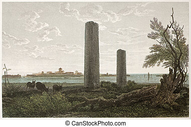 Temple of Jupiter ruins, Syracuse, Sicily. Created by De...