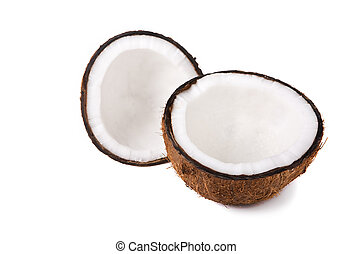 Coconut halves - Two halves of a coconut on white background...