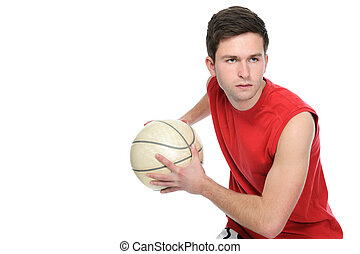 Basketball player dribbling the ball isolated on white