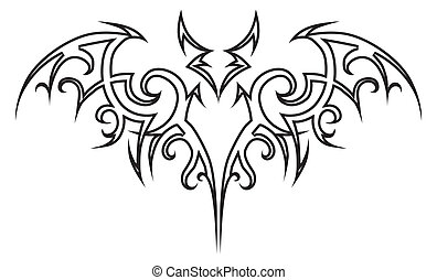 Tattoo bat. - Vector tattoo bat tribal. Design element....