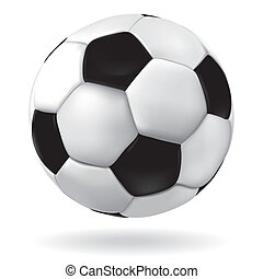 Soccer ball. - Leather soccer ball icon. Vector footbal...