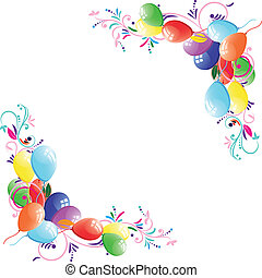 Floral balloon background, birthday frame, design element,...