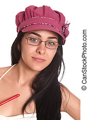 intellectual woman - intellectual woman with glasses and...