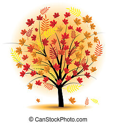Beautiful autumn tree. Design element. Fall illustration.
