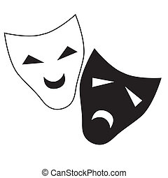 Vector theatrical masks - Vector theater mask isolated...