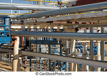 Pipework at a petrochemical plant - Detail of pipework at a...