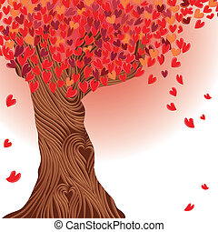 Valentine tree vector, heart. Love card. Wedding background.