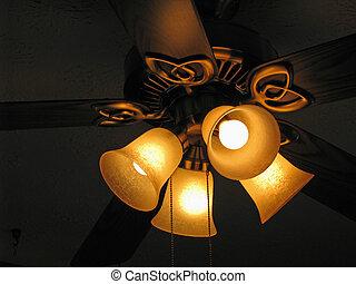ceiling fan - close up ceiling fan light bulbs radiantly...