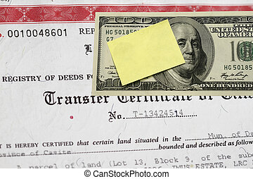 Transfer certificate of title abstract-focus on certificate.