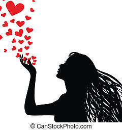 Silhouette woman blowing heart - Woman silhouette hand....