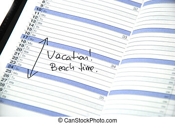 vacation time - daily planner showing scheduled vacation...