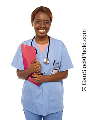 Female practitioner ready to assist senior doctor Holding...