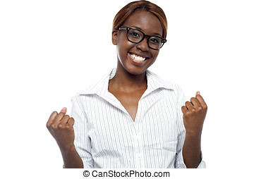A female expressing her success Yes, we did it -...