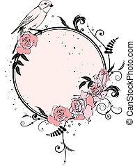 floral frame with bird - vector frame with flowers of roses...