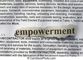Empowerment- text in blur with definition abstract