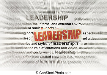 leadership - Blurred text with a focus on leadership