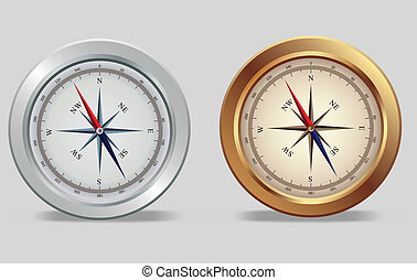 Silver and bronze compasses - Illustration of a silver and...