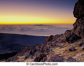 Sunrise on Teide(Gran Canaria in the background), Canary...