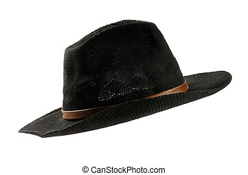 Black Cowboy Hat - Black mens cowboy hat isolated silhouette...