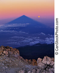 Sunrise on Teide, Big Shadow of the Mountain, Canary...