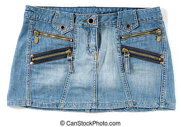 Jeans mini skirt - Blue sexy female mini skirt isolated on...