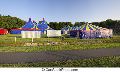 circus tent - several circus tents in warm sunset light